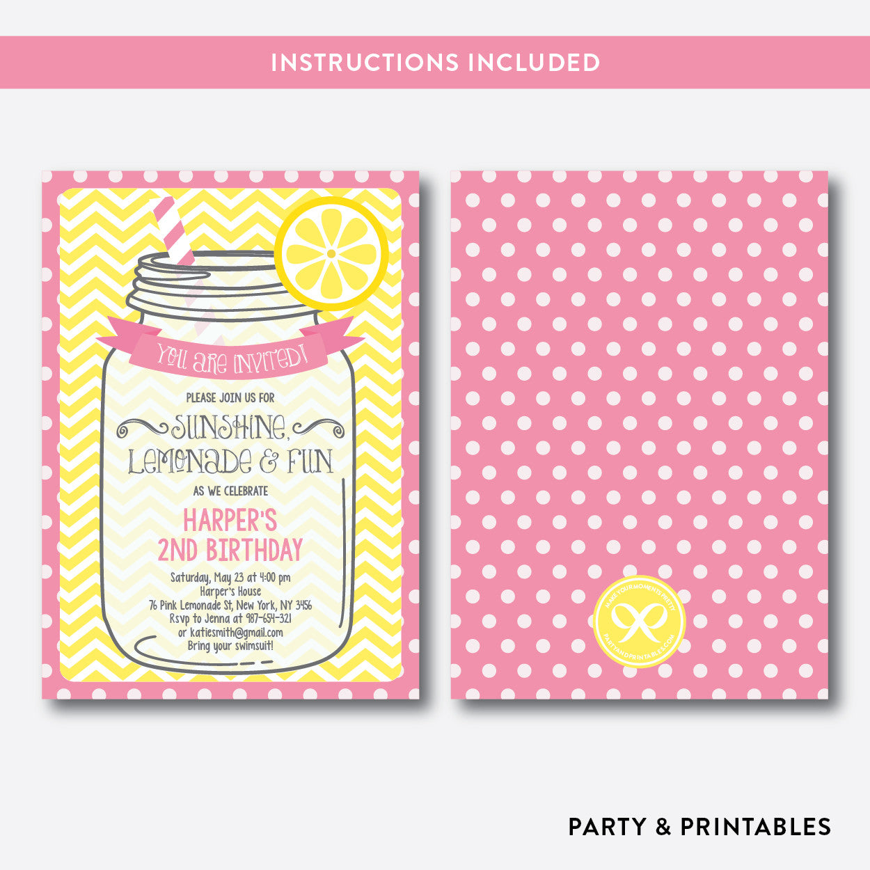 Pink Lemonade Stand Kids Birthday Invitation / Editable / Instant Download (SKB.37), invitation - Party and Printables