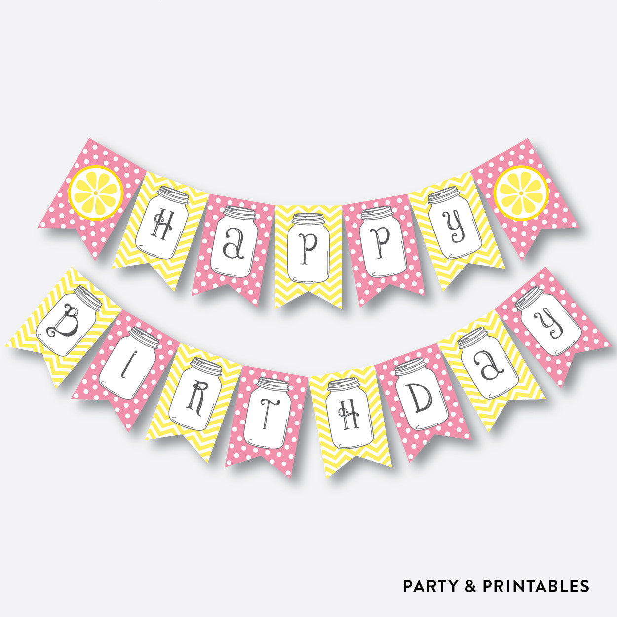 Pink Lemonade Stand Party Banner / Happy Birthday Banner / Non-Personalized / Instant Download (SKB.37), party printables - Party and Printables
