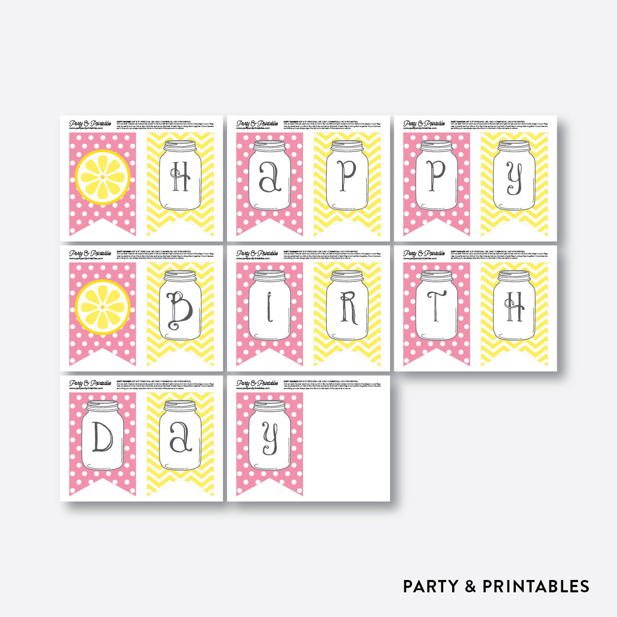 Pink Lemonade Stand Party Banner / Happy Birthday Banner / Non-Personalized / Instant Download (SKB.37)