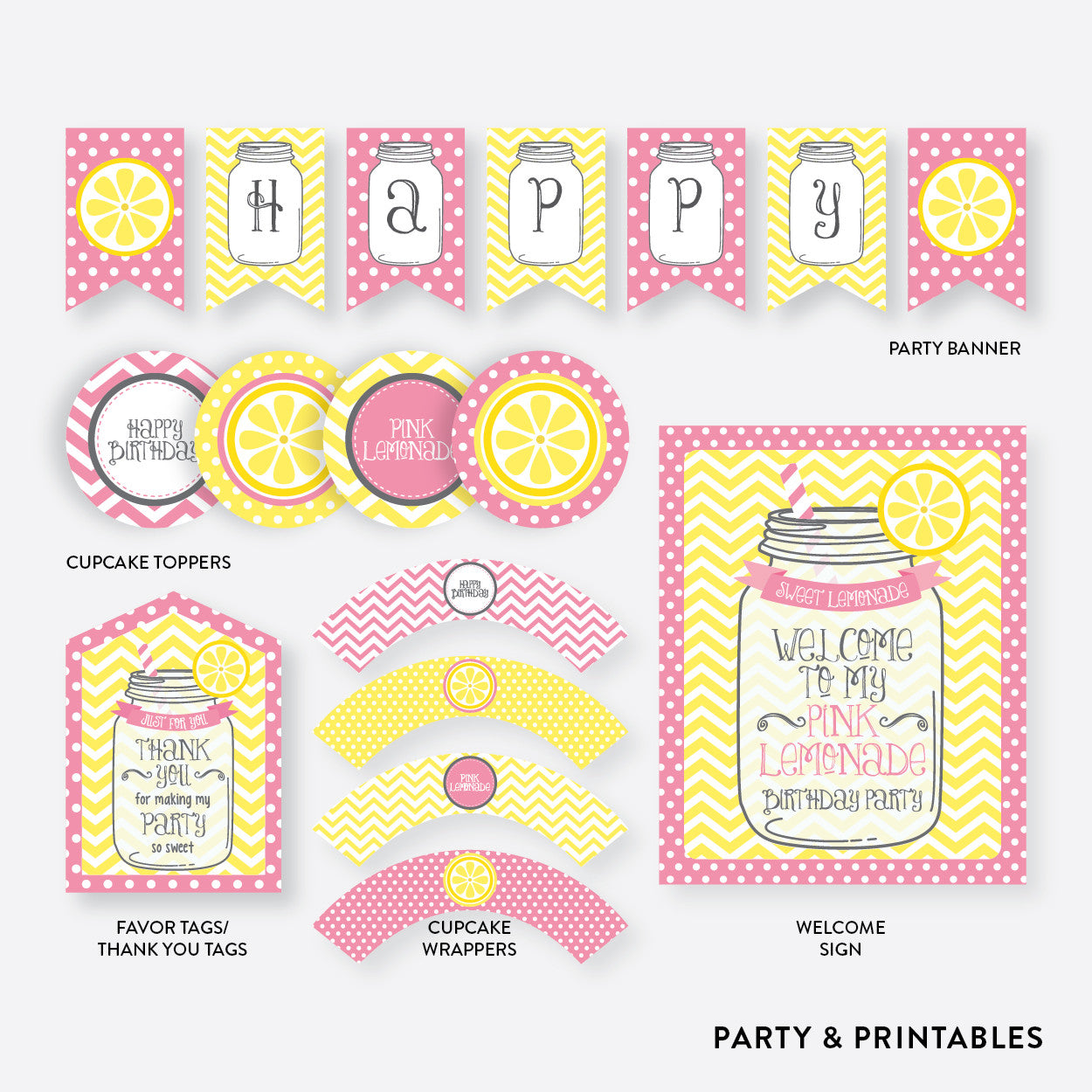 Pink Lemonade Stand Standard Kids Birthday Party Package / Non-Personalized / Instant Download (SKB.37), party package - Party and Printables