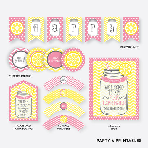 Pink Lemonade Stand Standard Kids Birthday Party Package / Non-Personalized / Instant Download (SKB.37)