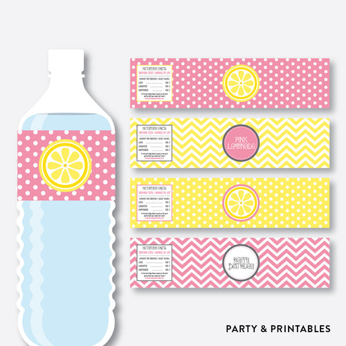 Pink Lemonade Stand Water Bottle Labels / Non-Personalized / Instant Download (SKB.37)