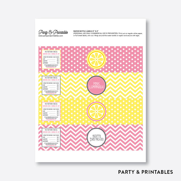 Pink Lemonade Stand Water Bottle Labels / Non-Personalized / Instant Download (SKB.37), party printables - Party and Printables