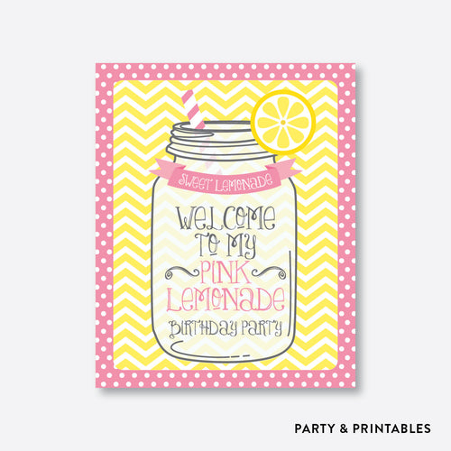 Pink Lemonade Stand Welcome Sign / Non-Personalized / Instant Download (SKB.37)