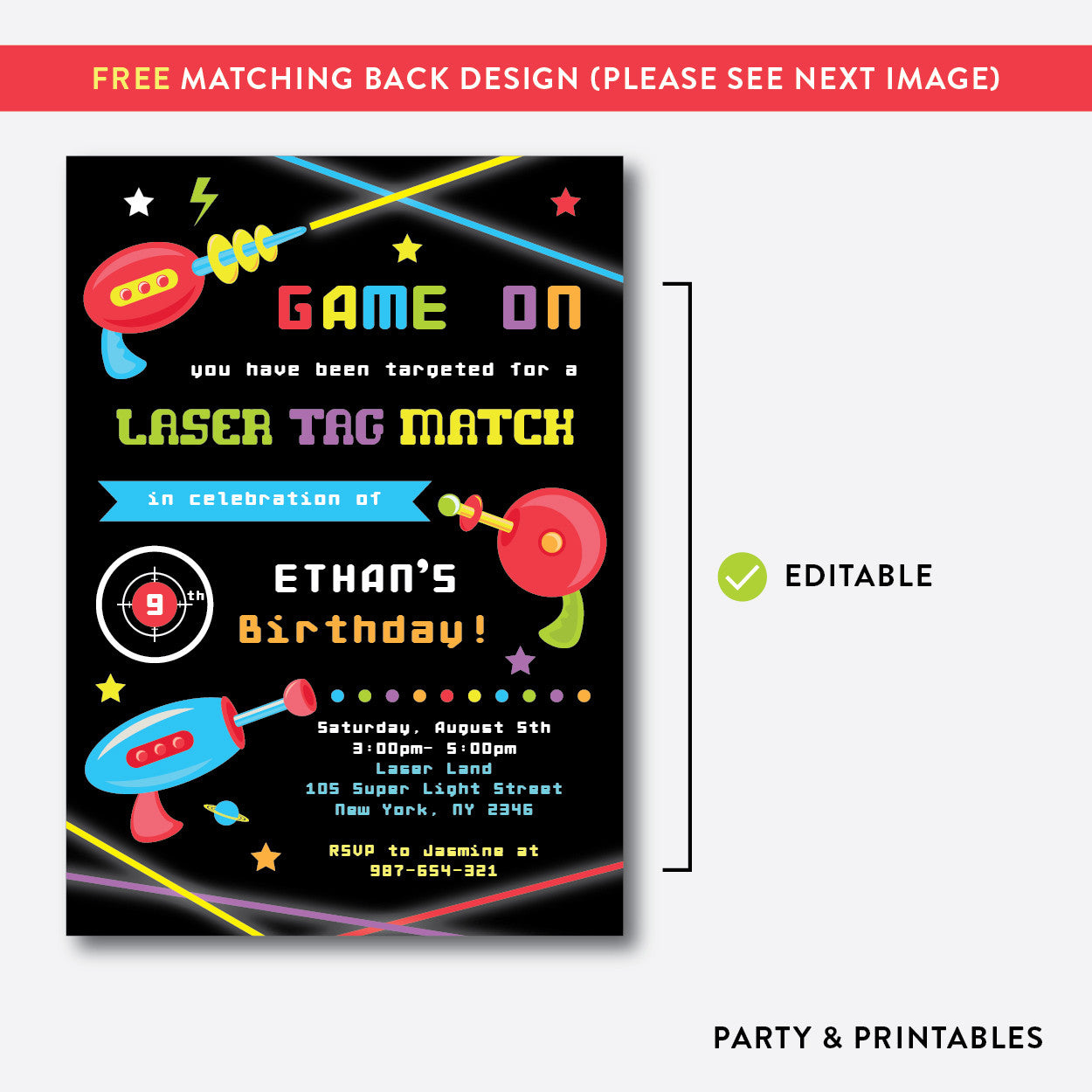 Laser Tag Kids Birthday Invitation / Editable / Instant Download ...