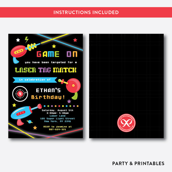 Laser Tag Kids Birthday Invitation / Editable / Instant Download (SKB.40)
