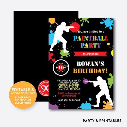 Paintball Party Kids Birthday Invitation / Editable / Instant Download (SKB.42)