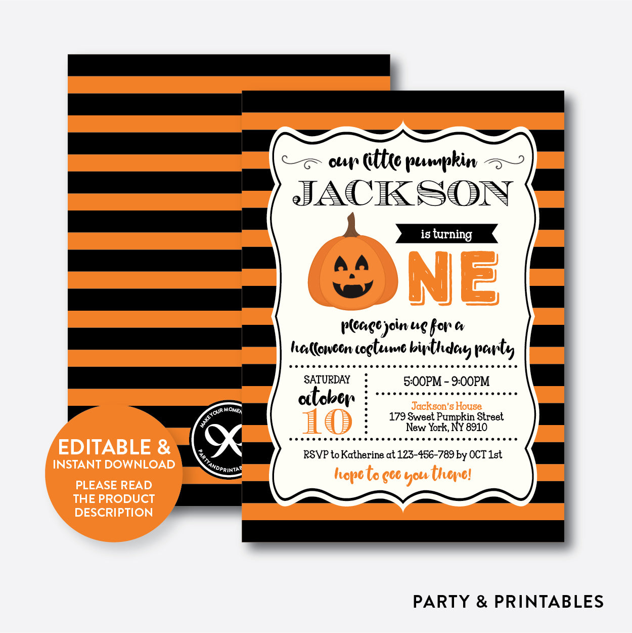 Halloween Pumpkin 1st Birthday Invitation Editable Instant Downloa Party And Printables