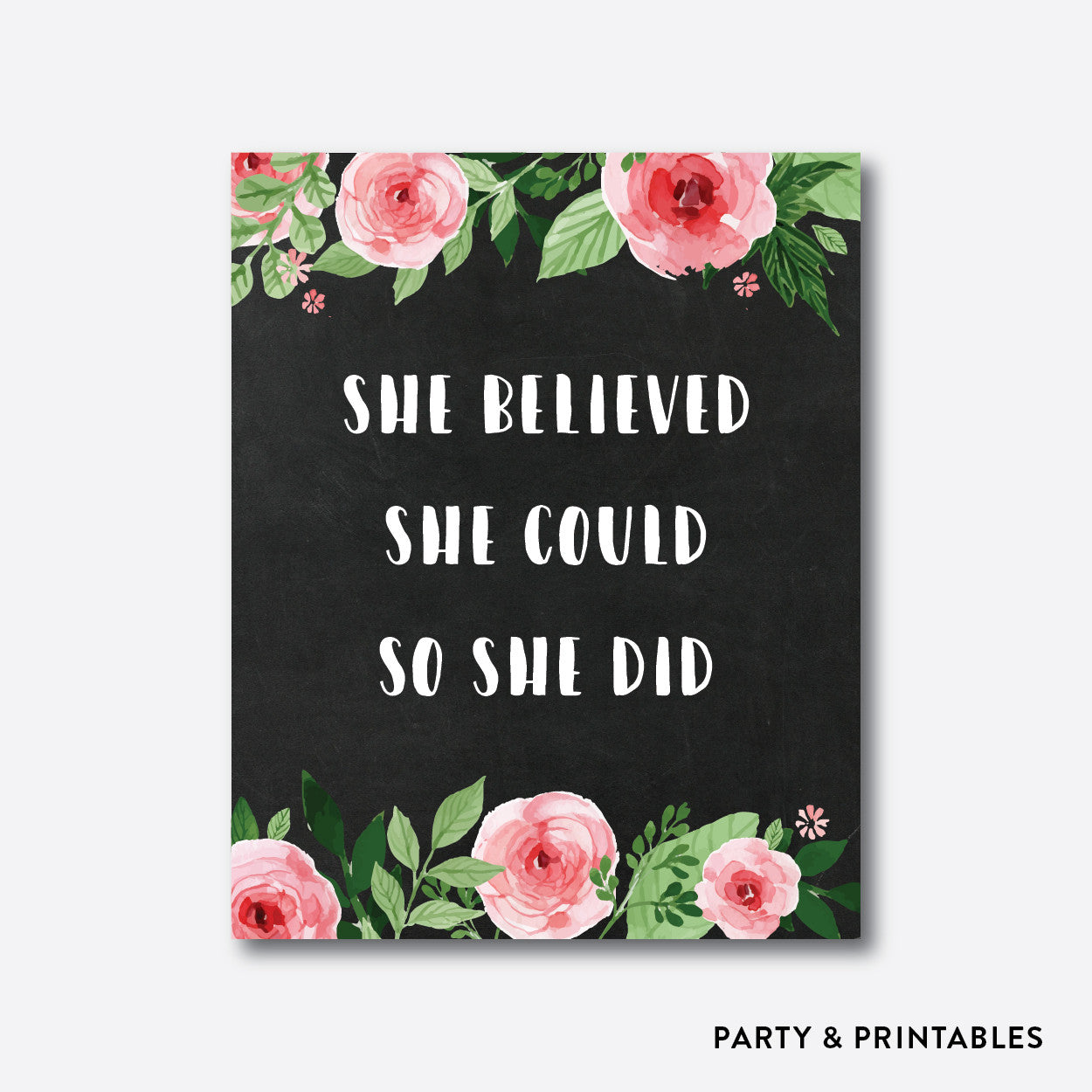 She Believed She Could So She Did Wall Art / Instant Download (WA.09), wall art - Party and Printables