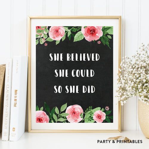 She Believed She Could So She Did Wall Art / Instant Download (WA.09)