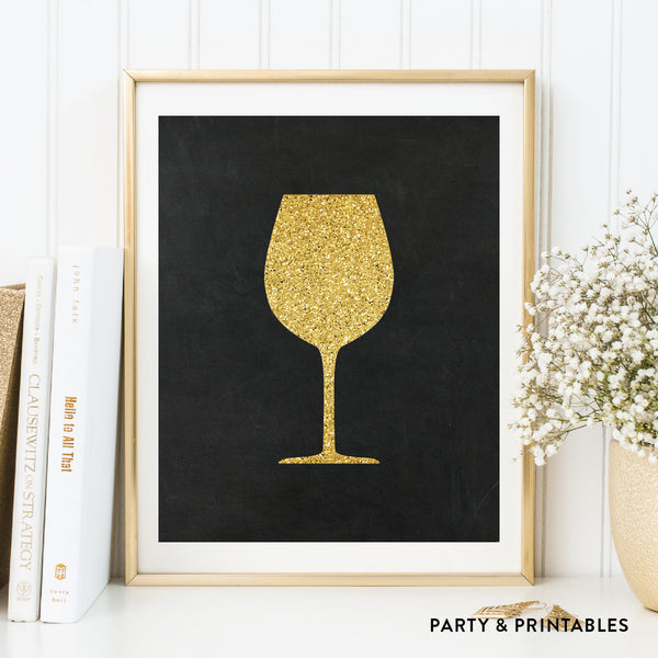 Wine Glass Silhouette Wall Art / Instant Download (WA.15), photo booth props - Party and Printables