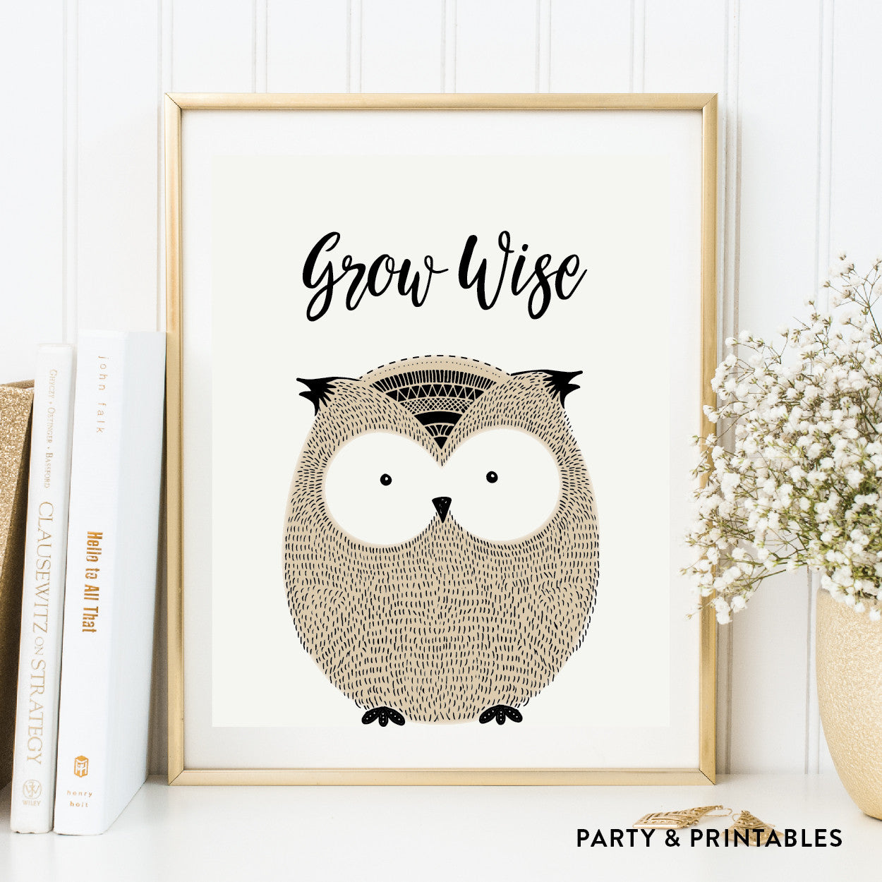 Grow Wise Owl Wall Art / Instant Download (WA.20), wall art - Party and Printables