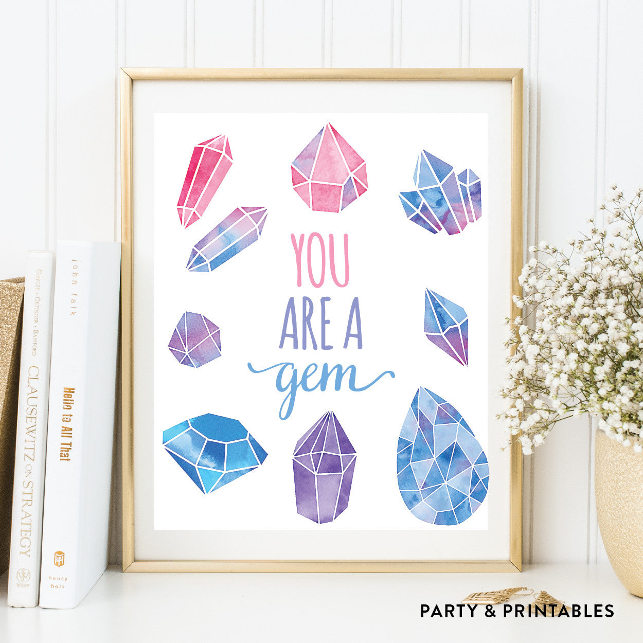 You Are A Gem Wall Art / Instant Download (WA.37), photo booth props - Party and Printables