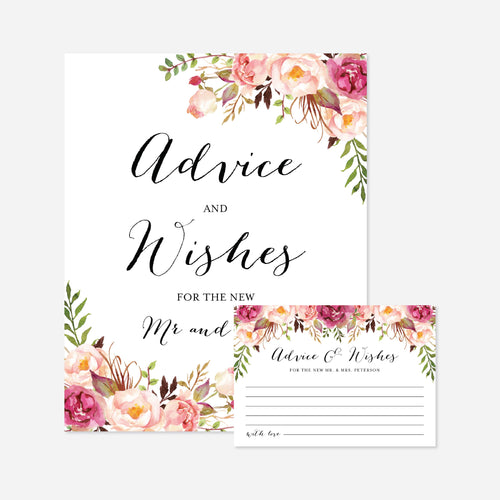 Pink Floral Wedding Advice and Wishes