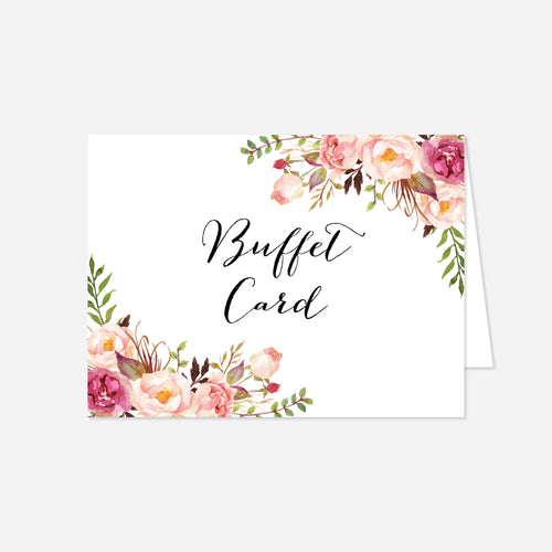 Pink Floral Wedding Buffet Card