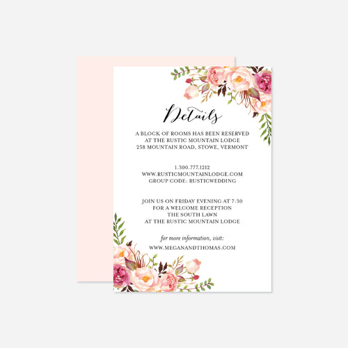Pink Floral Wedding Details Card
