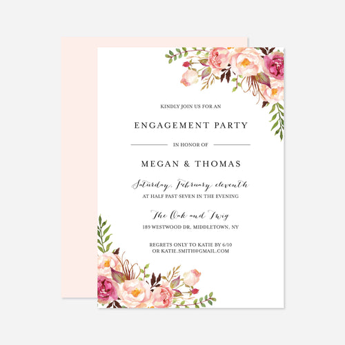 Pink Floral Engagement Invitation