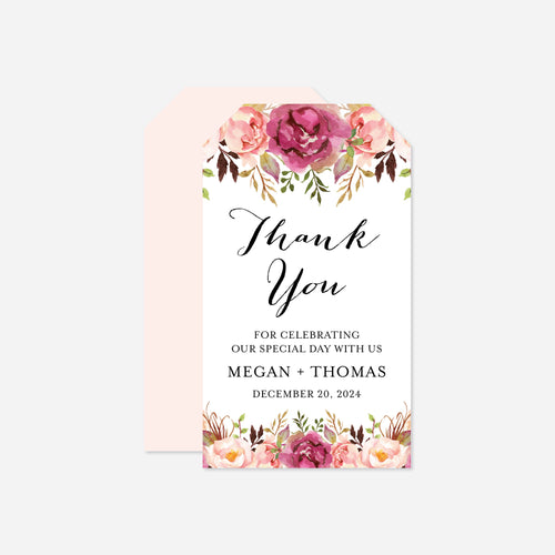 Pink Floral Wedding Favor Tag