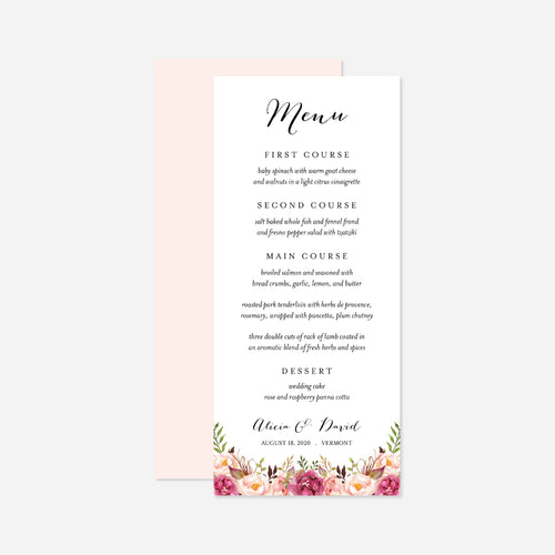 Pink Floral Wedding Menu Card
