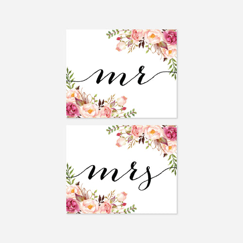 Pink Floral Mr and Mrs Chair Sign