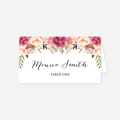 Pink Floral Wedding Place Card