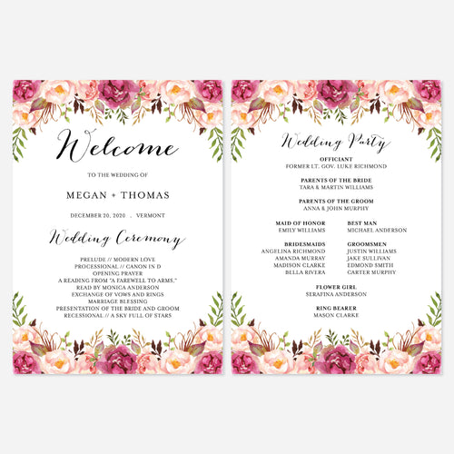 Pink Floral Fan Wedding Program