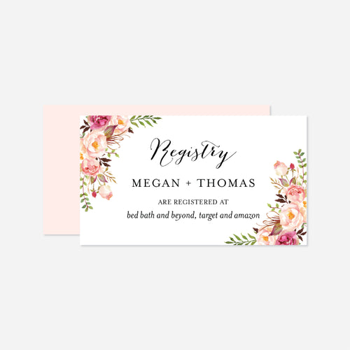 Pink Floral Wedding Registry Card