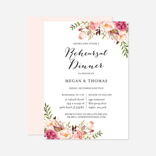 Pink Floral Wedding Rehearsal Dinner Invitation
