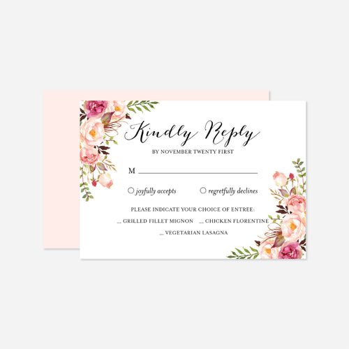 Pink Floral Wedding RSVP Card