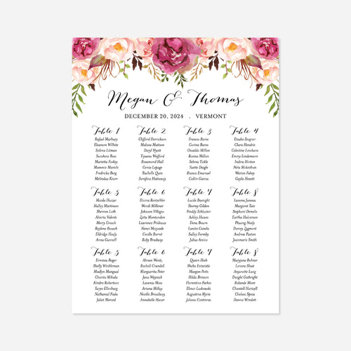 Pink Floral Wedding Seating Chart