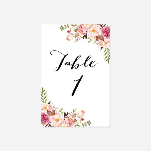 Pink Floral Wedding Table Number