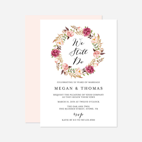 Pink Floral Vow Renewal Invitation