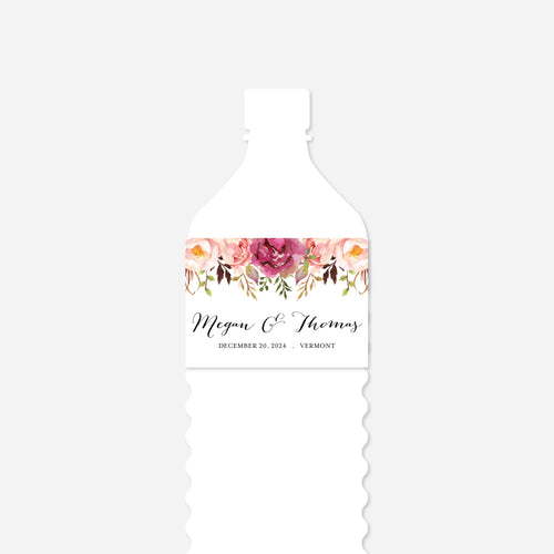 Pink Floral Wedding Water Bottle Label