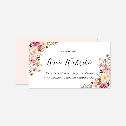 Pink Floral Wedding Website Card