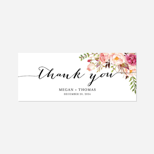 Pink Floral Wedding Chocolate Bar Wrapper