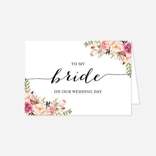Pink Floral Wedding Day Card