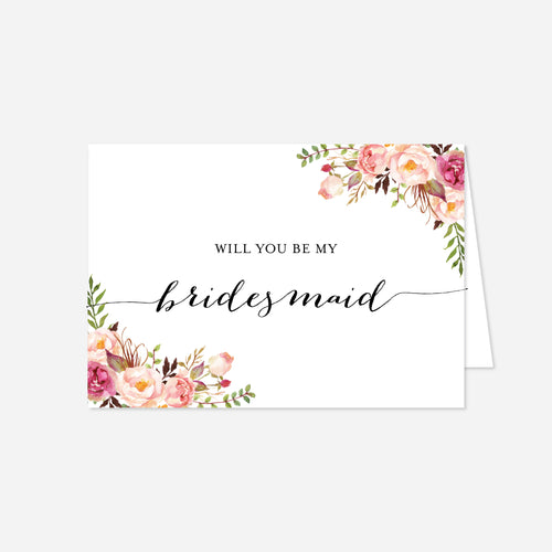 Pink Floral Wedding Proposal Card
