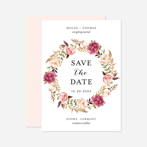 Pink Floral Wedding Save The Date