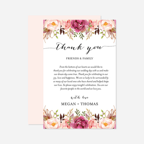 Pink Floral Wedding Thank You Note