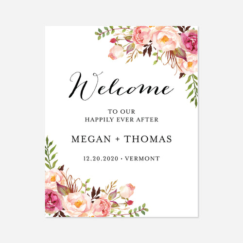 Pink Floral Wedding Welcome Sign