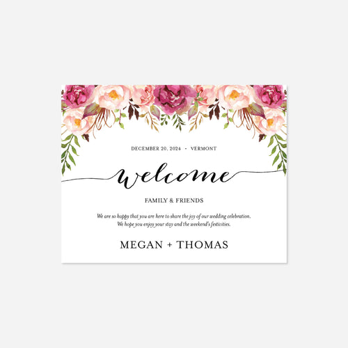 Pink Floral Wedding Welcome Bag Label