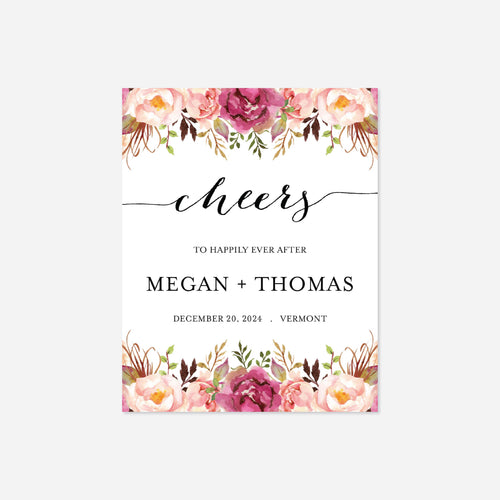 Pink Floral Wedding Wine Label