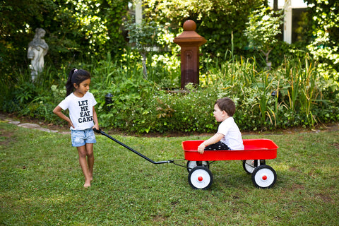 kids playing with garden wagon