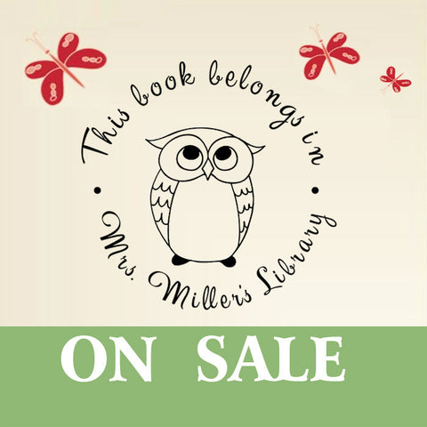 LR01 Custom Self Inking Library Stampbook Stamp With Night Owl ON SALE