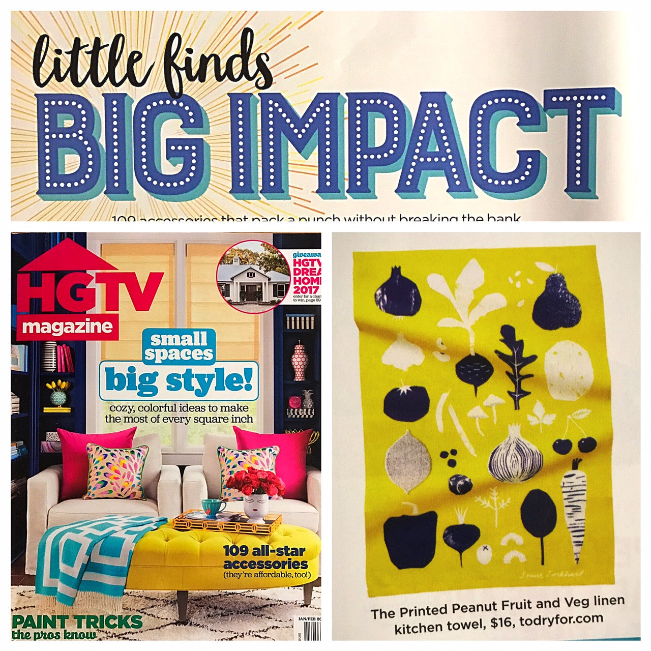 ToDryFor feature in HGTV Magazine (US) - January / February 2017