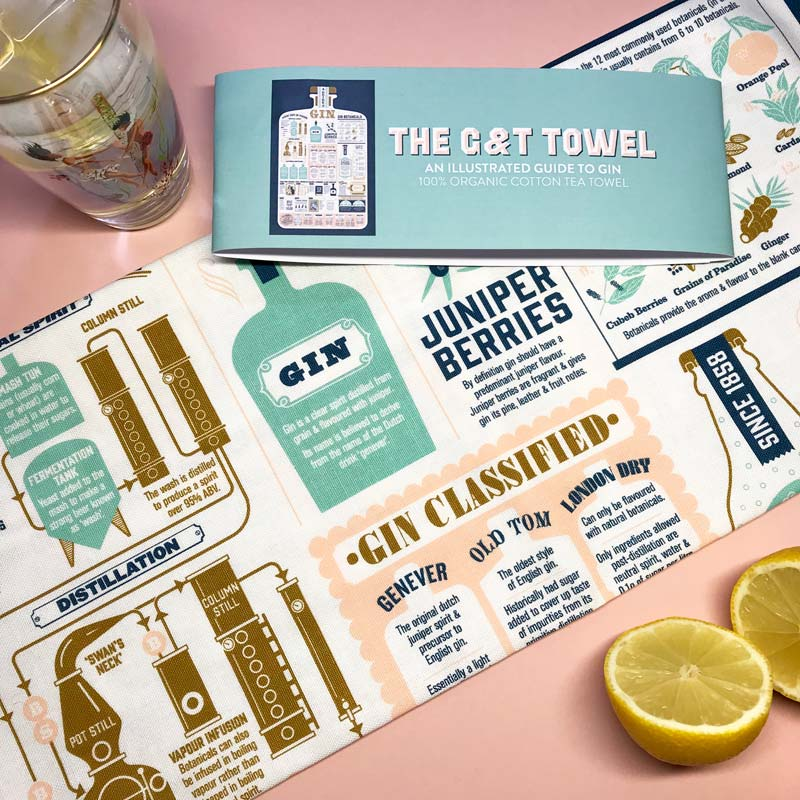 A Guide to Gin tea towel