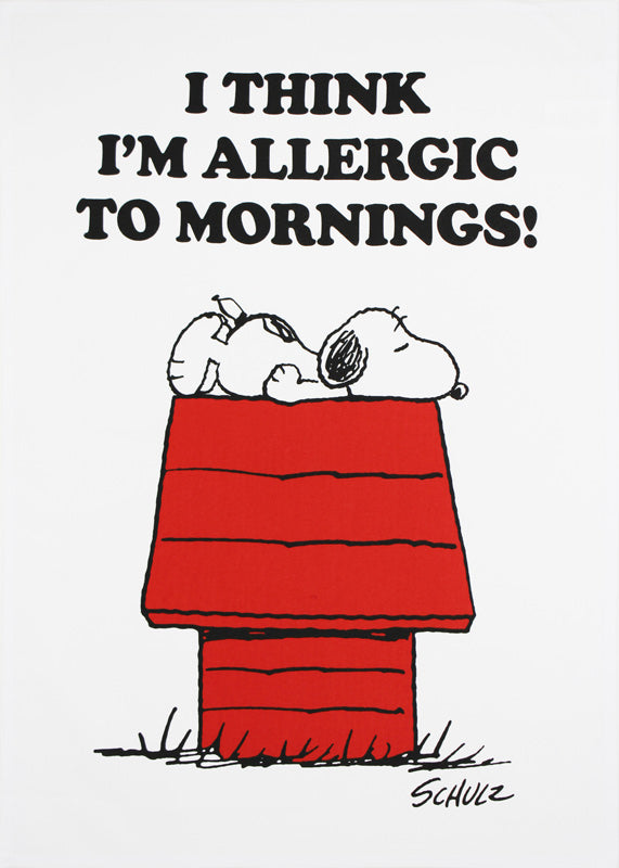 Allergic to Mornings Snoopy tea towel