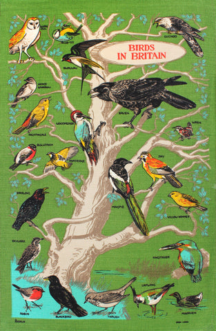 Birds in Britain tea towel