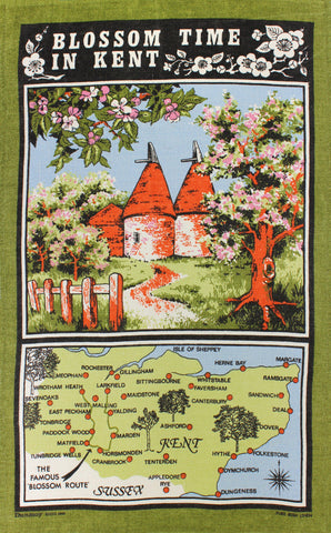 Blossom Time in Kent tea towel