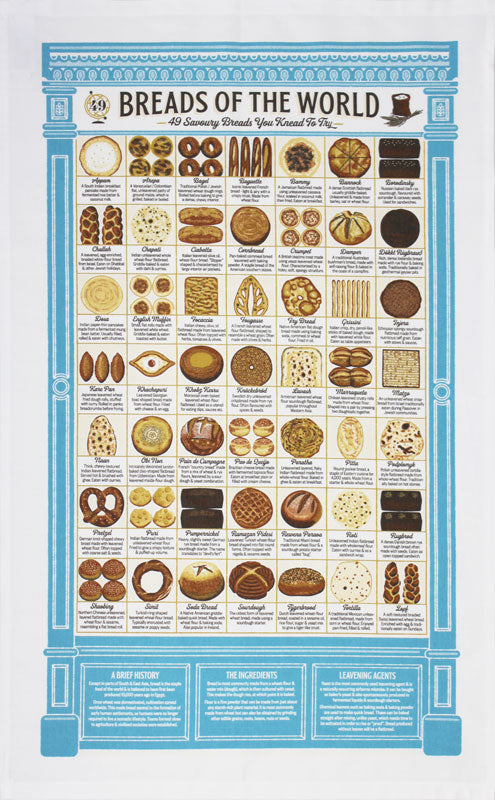 Breads of the World tea towel